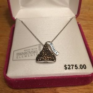 Swarovski Elements Silver Hershey's Kiss Necklace